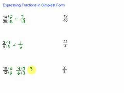 simplest form of fractions  Expressing Fractions in Simplest Form