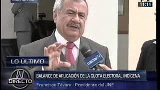 Presidente del JNE declara sobre presentación de cuota electoral indígena