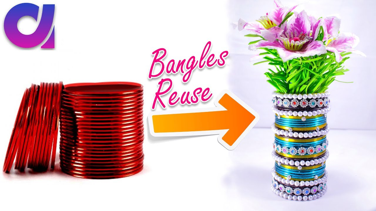 how to make flower vase from old waste bangles best out