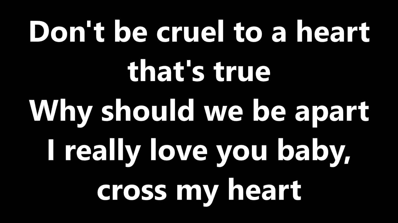 Lyrics Don T Be Cruel Elvis Presley Youtube
