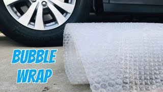 Crushing crunchy and soft things by car! Bubble wrap VS car experiment! ASMR oddly satisfying video!