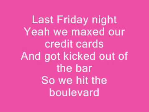 Katy Perry Last Friday Night Lyrics