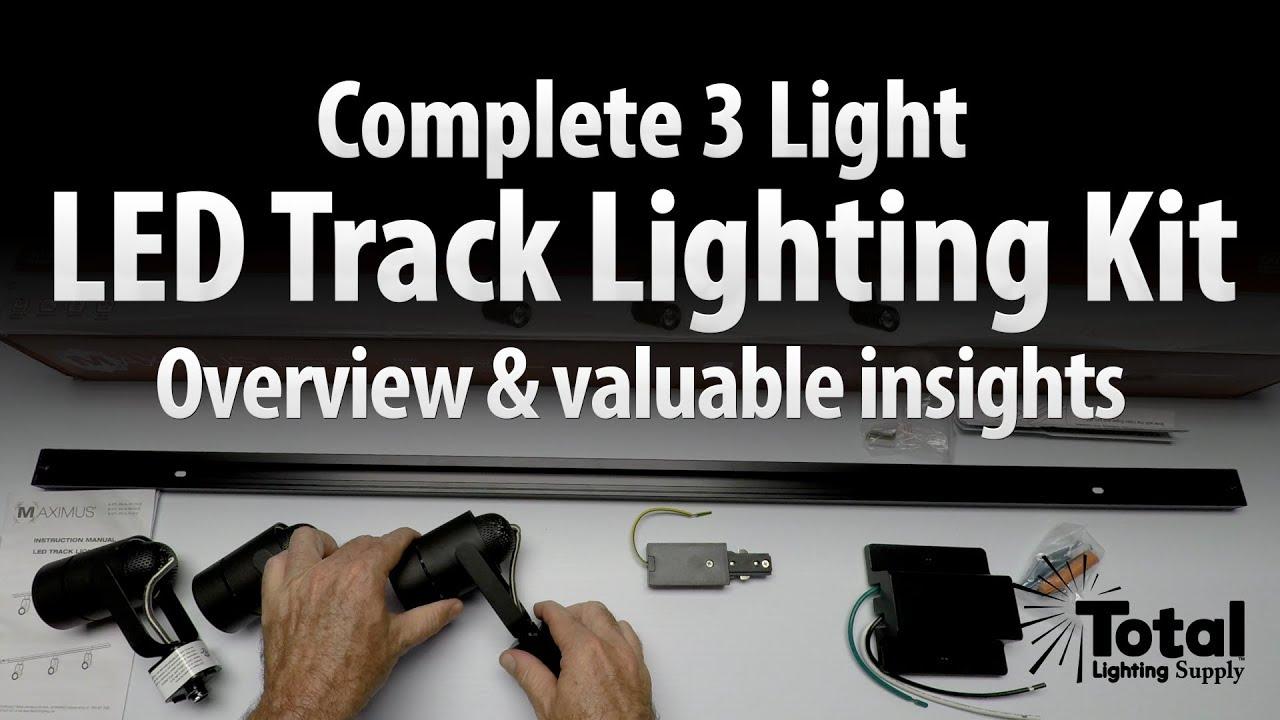 Complete 3 Led Light Track Lighting Kit