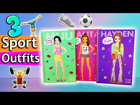 Topmodel SPORT Outfits Stylen | Dress Me Up Challenge | 3 Coole Ideen Im Topmodel Malbuch | Deutsch