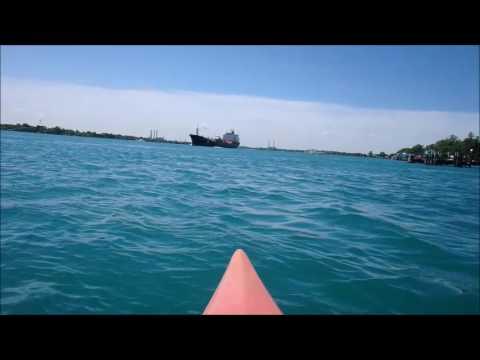 Kayaking with Big Ships, St.Clair River Mi.