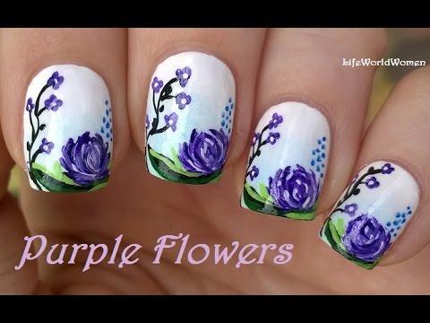 Purple flowers nail art tutorial using acrylic paint youtube purple flowers nail art tutorial using acrylic paint prinsesfo Choice Image
