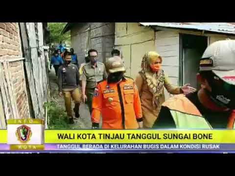 Wali kota Gorontalo Hi Marten Taha SE, M.Ec.Dev melakukan peninjauan tanggul sungai Bone