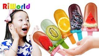 RIWON makes fruit Ice Cream with alphabet song 리원이와 영어 배우기 알파벳송 인기 동요 RIWORLDBest
