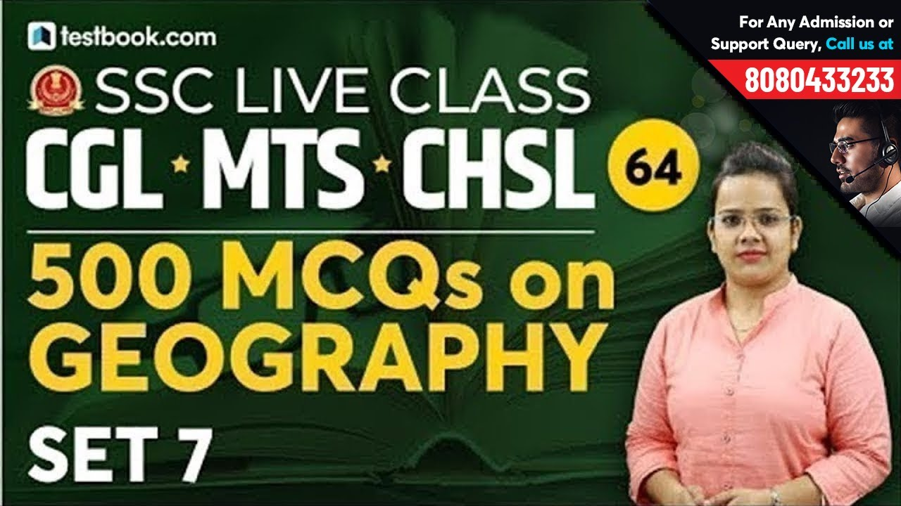 Important Indian Geography MCQ for SSC CGL 2019 | Set 7 | SSC Live Class  Day 64 | General Studies