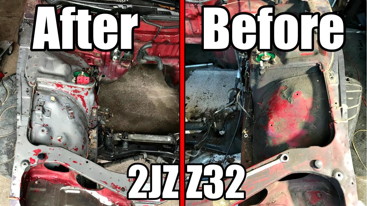 major engine bay clean up & seam sealer removal | 2jz z32 build part 10