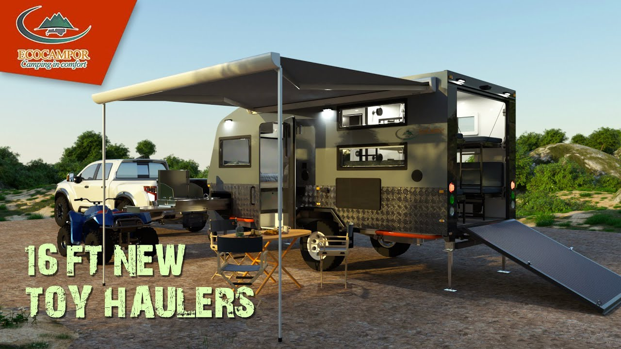 No need to leave the toys at home with this functional toy hauler rv living
