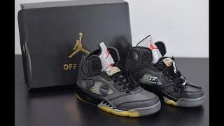 OFF WHITE x Air Jordan 5 AJ5 ow Muslin Basketball Shoes