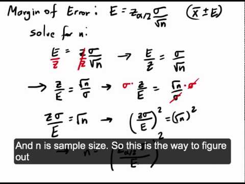 Finding Minimum Sample Size for Estimating Population Mean - YouTube