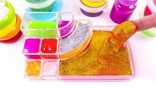 Simple DIY All Colors Water Combine Glitter Pearl Slime ShowCase Clay Learn Colors Slime Toys