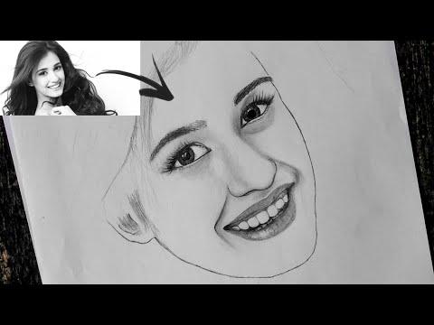 Disha Paatni realistic pencil sketch step by step...