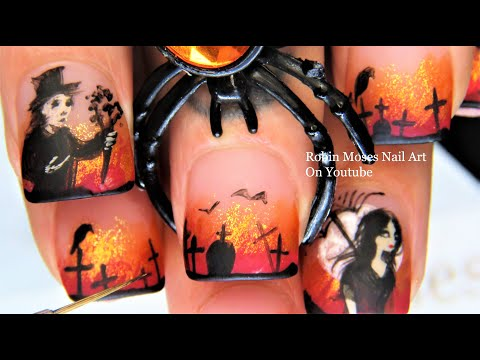 Goth Halloween Nail Art | Gothic Romantic Nail Design Tutorial thumbnail