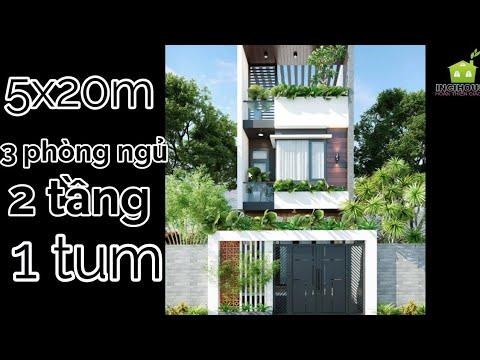 Bản vẽ thiết kế nhà phố 2 tầng hoàn chỉnh 5x20m