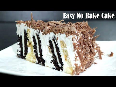 EASY NO BAKE CAKE RECIPE – HOW TO MAKE EGGLESS NO BAKE CAKE AT HOME