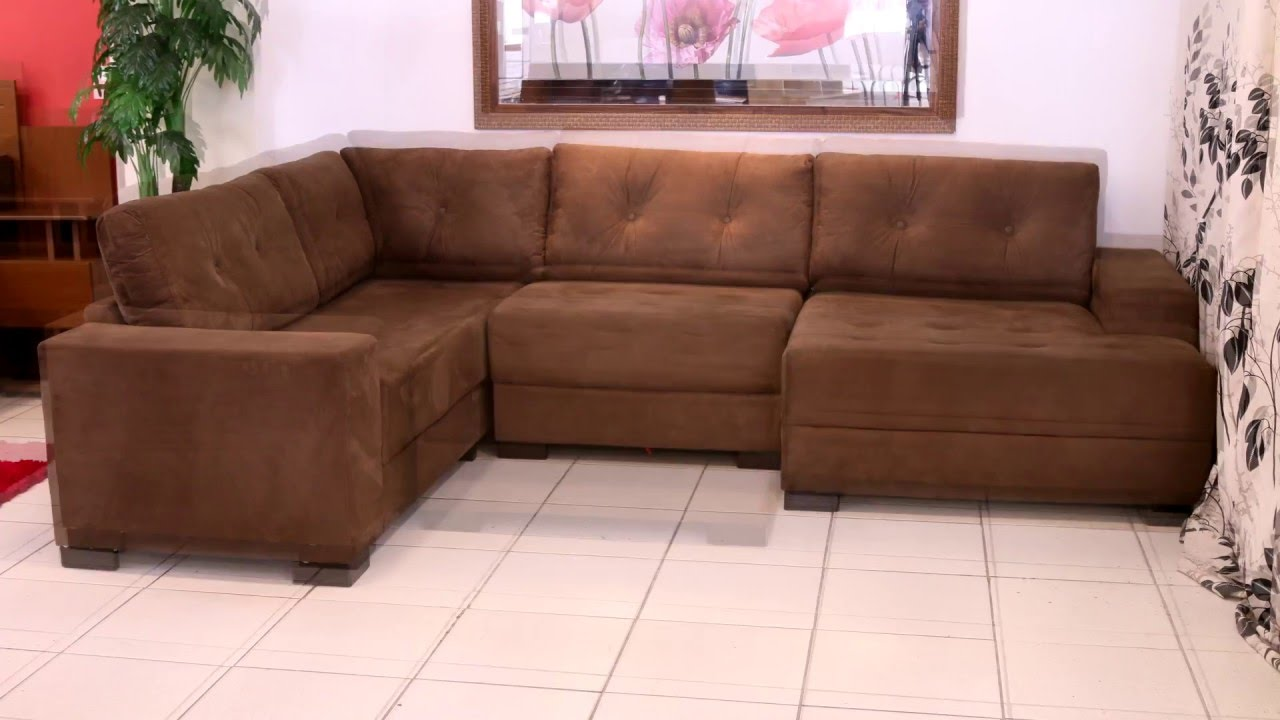 Sof de canto com chaise copacabana youtube for Sofas grandes modernos