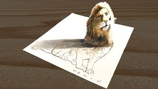 Drawing Lion Illusion - 3D trick Art on Paper - VamosART
