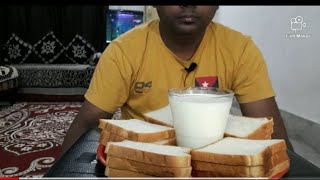 Morning breakfast eating  bread 🍞🍞🍞and milk🥛🥛🥛