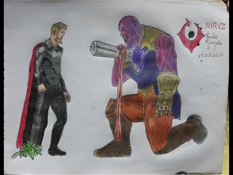 Desenhando Thor Vs Thanos Stormbreaker No Peito Do Thanos Youtube