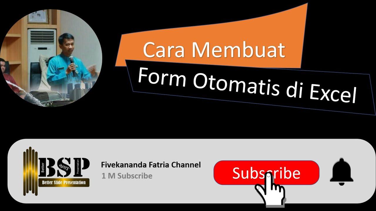 cara membuat form otomatis di excel - YouTube