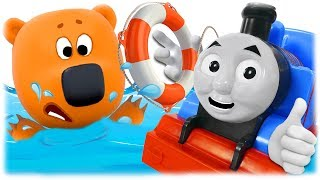 Train Thomas to the Rescue Bjorn and Bucky from Cartoon for Children Be-Be-Bears