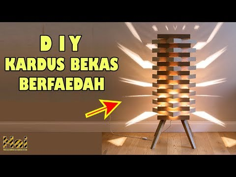 CARA MUDAH MEMBUAT LAMPU HIAS STYLISH DARI KARDUS || HOW TO EASILY MAKE NIGHT LAMP FROM CARDBOARD.