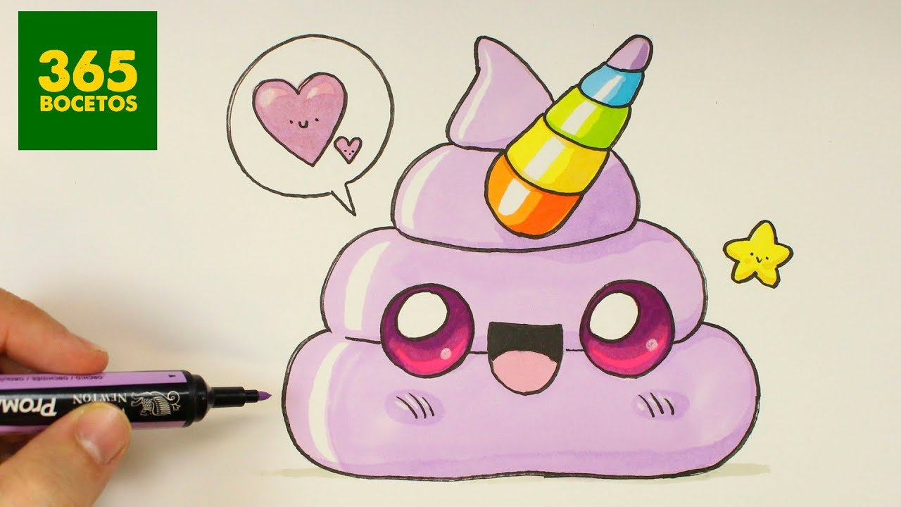Como dibujar un emoji de caquita unicornio kawaii - Dessin licorne kawaii ...