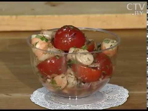 Рецепты здорового питания: салат с креветками, черри и имбирным соусом