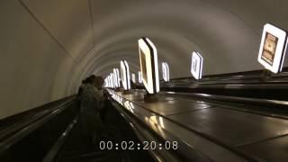 Rolltreppe/Fahrtreppe zur tiefsten U-Bahn Station der Welt (Arsenalna - Kiew)
