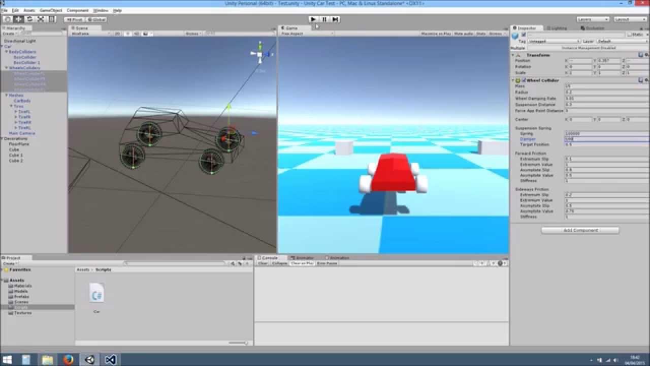 Unity 5 - Car Wheel Collider Tutorial + Blender Meshes