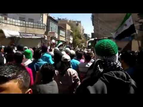 دمشق جوبر أطلاق رصاص حي على المظاهرة 16-4-2012