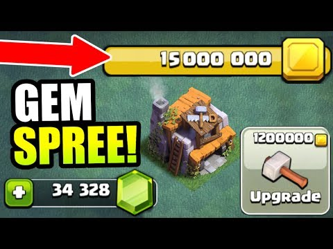 SPENDING OVER 15 MILLION GOLD!! INSANE GEM SPREE!!! - Clash Of Clans BUILDERS VILLAGE!