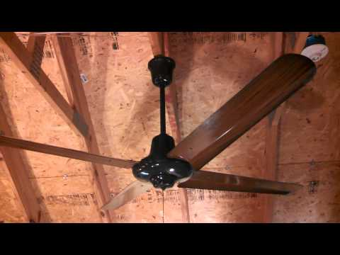 (Dayton?) Lasko Industrial/Commercial Ceiling Fan, brown with fake woodgrain