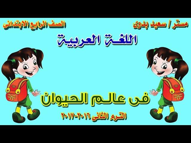 فى عالم الحيوان |عربى ـ رابعة ابتدائى  ـ ترم ثانى