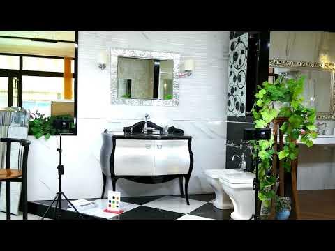Offerta Mobile Bagno Classico Versailles in stile retrò e top in marmo nero lussuoso vendita online