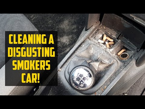 Cleaning a really dirty smokers car, disaster detail, Peugeot