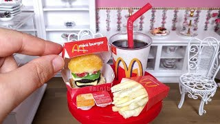 Miniature McDonald's! Mini CAKE Big Mac with candy fries & coke - mini food ASMR
