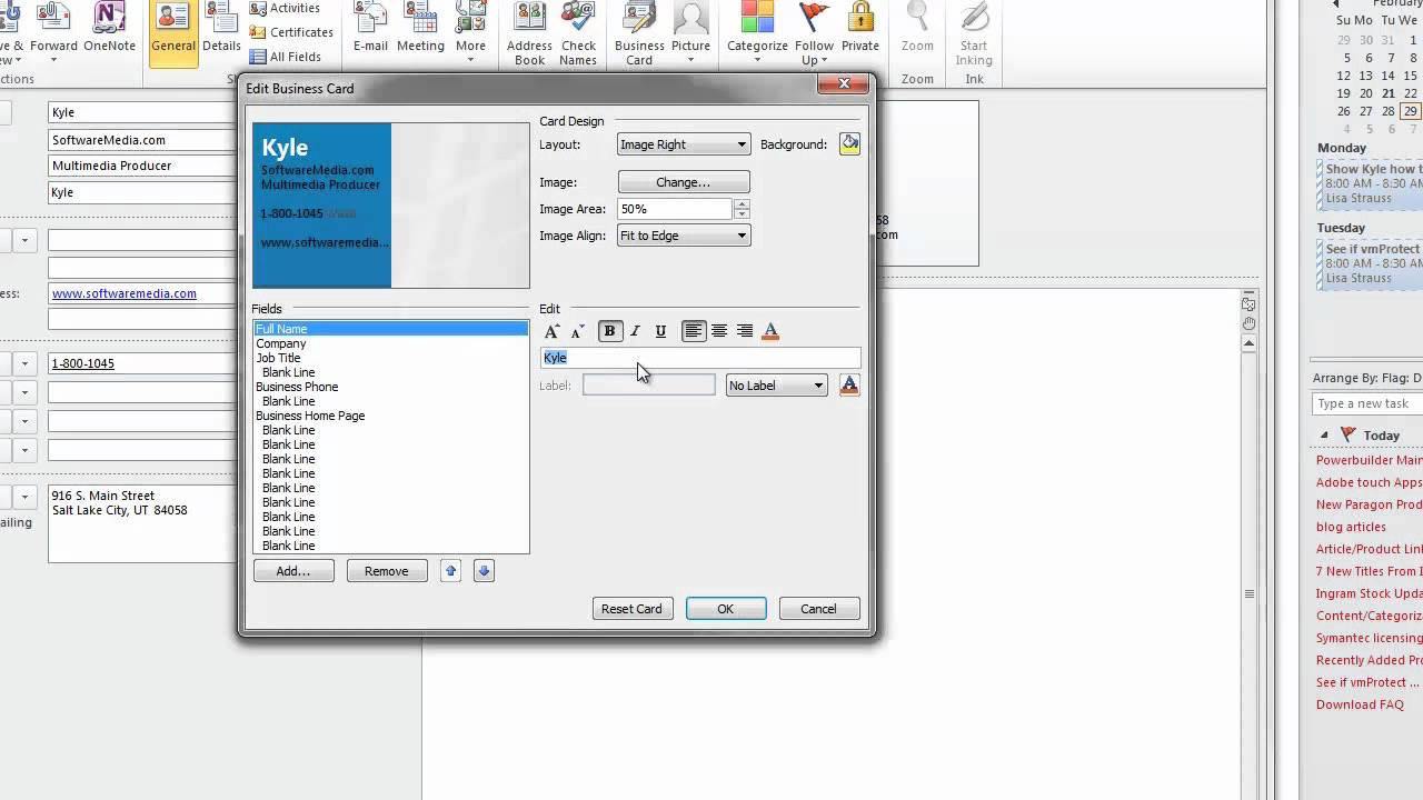 How to Create Business Cards in Microsoft Outlook 2010 Tutorial ...
