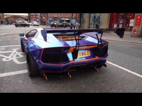 Two breathtaking traffic stopping Lamborghini Aventador s on Deansgate Manchester