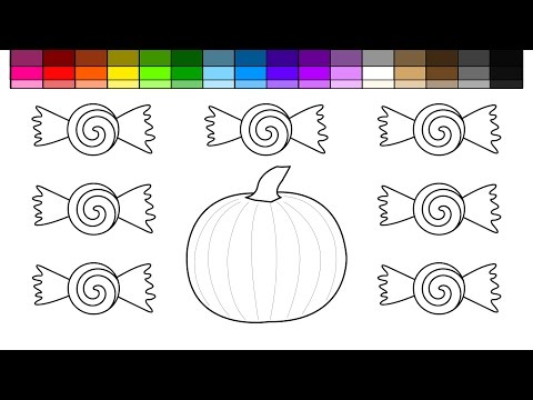 Learn Colors for Kids and Color Halloween Pumpkin and Candy Coloring Pages