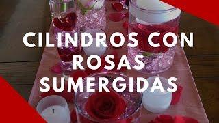 Cilindros con rosas sumergidas paso por paso como hacerlos