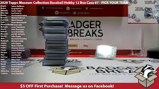 2020 Topps Museum Collection Baseball Hobby 12 Box Case #7 - PICK YOUR TEAM