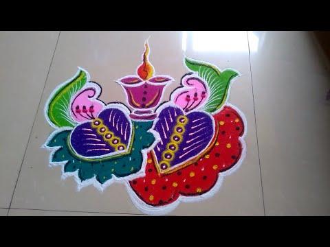 Very very easy and beautiful BIG DIWALI RANGOLI on outside of home made by Jyoti Raut Rangoli