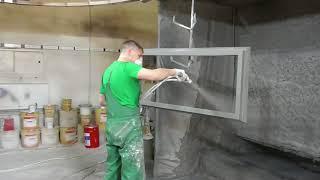 Окраска современных деревянных окон со стеклопакетами.