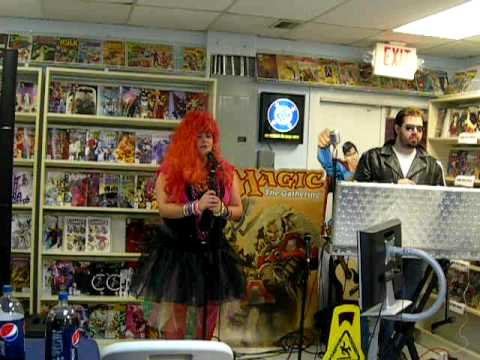 Comic shop karaoke: Lauren does Time After Time at Docking Bay 94