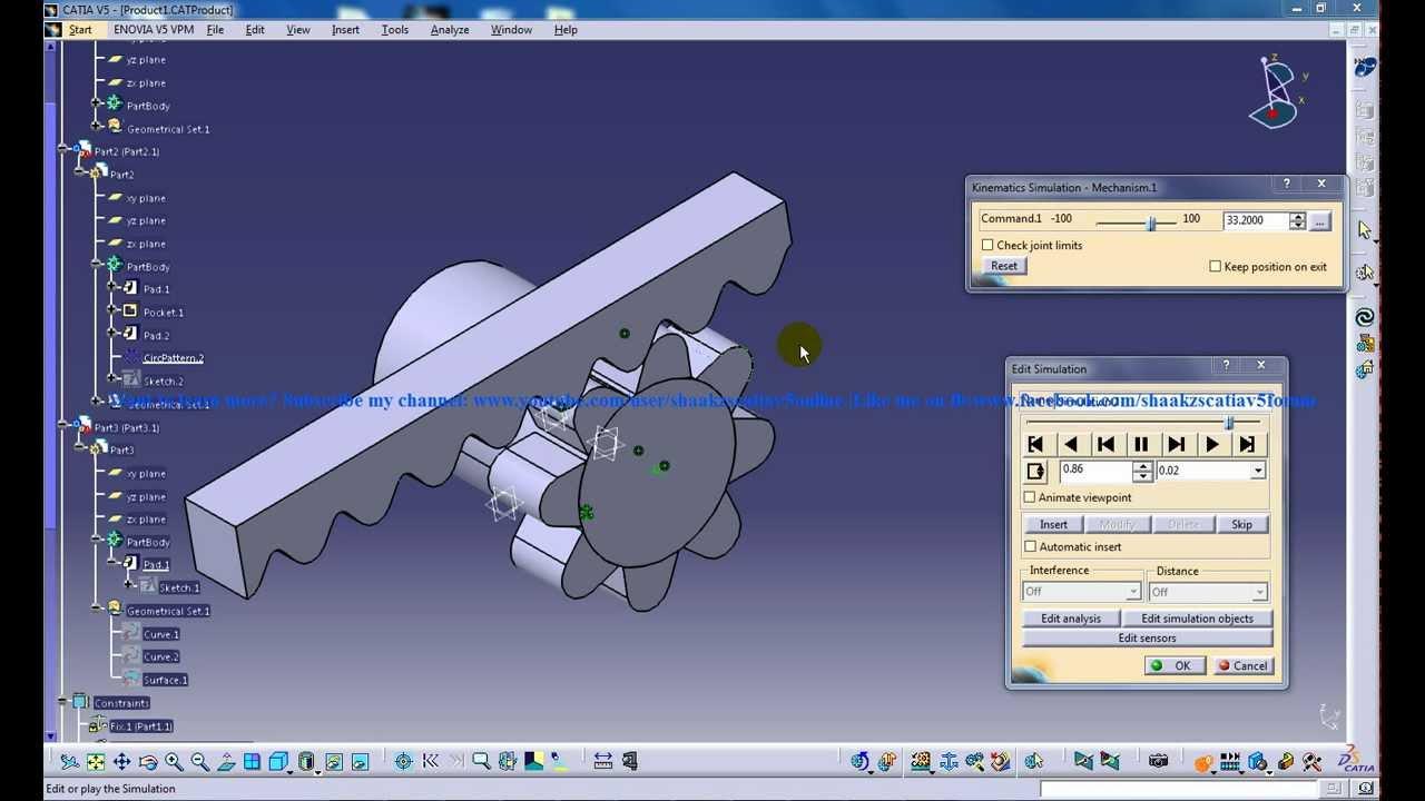 Catia V5 Tutorials Rack Pinion Mechanism Simulation Digital Mockup Dmu Kinematics You