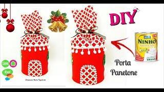 Lata de leite decorada para o Natal – Porta Panetone